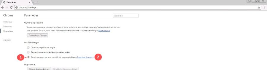comment changer la page d accueil Chrome