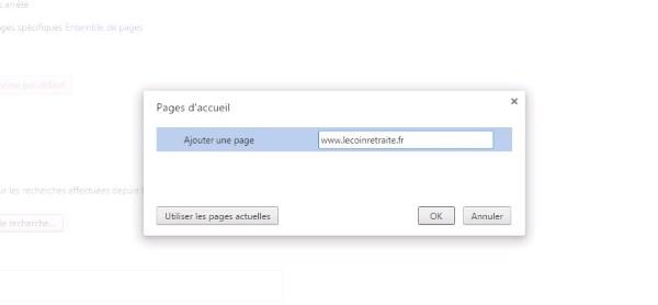 comment changer de page d accueil Chrome
