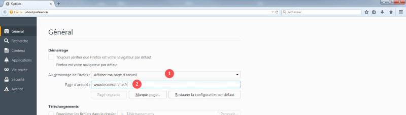 comment changer la page d accueil Firefox