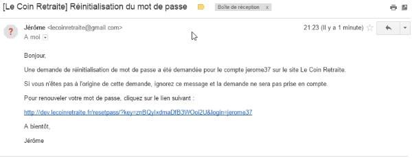 mail mot de passe