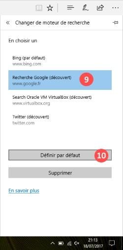 moteur de recherche par defaut