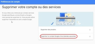effacer gmail compte