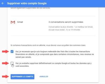 désactivé compte gmail