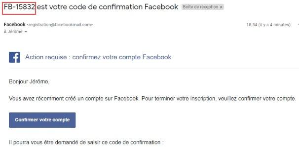 creation de compte facebook mail code facebook