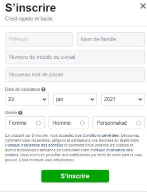 formulaire pour créer un compte facebook
